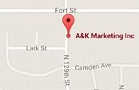 Map of A&K Marketing's office
